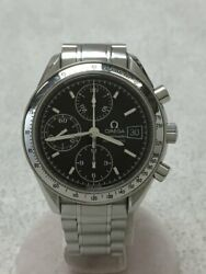 Wrist Watch Omega Speedmaster Menand039s Analog Black Silver Automatic Winding Used