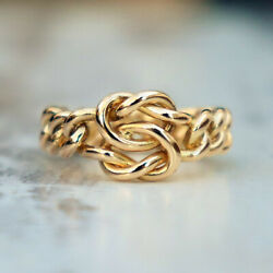 A Unique Victorian 18ct Yellow Gold Lovers Knot Curb Chain Ring. Size P - 8.8g