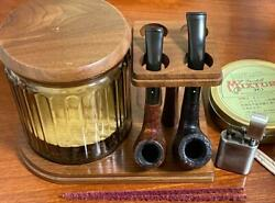Decatur Vintage Pipe Stand Tobacco Jar Antique Walnut Wooden Made In Usa Used