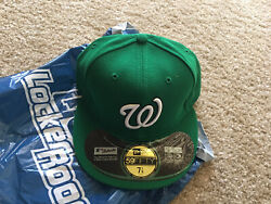 New Era Dc Nationals Size 7 1/8 5950 Fitted On Field Mlb Hat St.patrick's Day