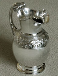 Gorham Satin Leaf And Flower 9 1/2 Pint Water Pitcher Sterling Silver C1870