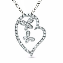 1/10ct Natural Diamond Heart With Butterflies Pendant 10k White Gold 18 Chain