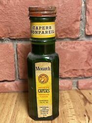 Vintage Monarch Lion 2 1/4 Fl Oz Advertising Green Glass Bottle Capers + Product