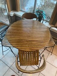 Arthur Umanoff Htf Rare Birch Wood/ Medal Base And 4 Chairs With Wrap Paper Cord