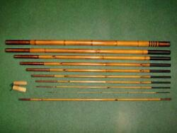 636 Cm Bamboo Poles Made Using Traditional Japanese Rods Ayu Vintage Rare Unused