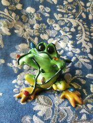 Kitty Cantrell Kitty's Critters Frog Tipsies Christmas Frog 'tangled' - Rare