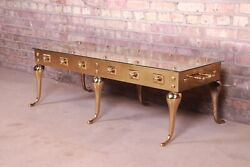 Hollywood Regency Sculpted Brass Cocktail Table Attributed To Labarge Circa 196