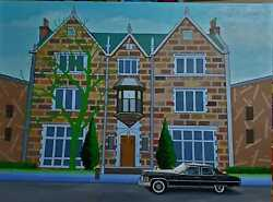 """770 Eastern Parkway Chabad The Rebbe's Car Original Paint On Canvas 20""""x 40"""""""