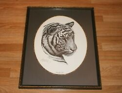 Guy Coheleach Signed White Tiger Head Panthera Tigris Lithograph Matted Framed