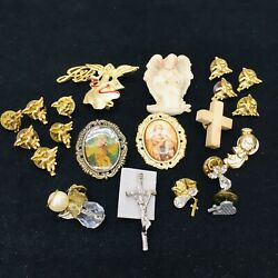 Lot Of 21‼ Christian Lapel And Brooch Pins Religious Junk Drawer • Vguc‼