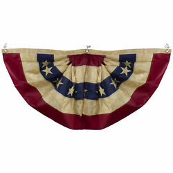 Northlight Red White Blue Tea-stained Usa American Bunting Flag 48 X 24