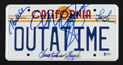 Back To The Future California License Plate Cast Signed By 4 Beckett And Jsa