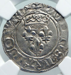1380ad France King Charles Vi Antique Silver Old Gros Medieval Coin Ngc I91316