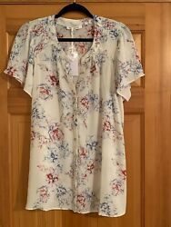 Nwt Rose And Olive Ivory Floral Button Flutter Sleeves Blouse Top Womens Size 1x