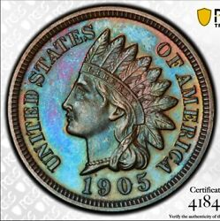 Beautifully Blue Toned 1905 Proof Indian Head Cent Pcgs Pr65bn
