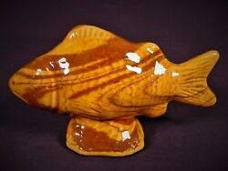 Very Rare Antique Signed Fish Bank Agateware Redware Yellow Ware