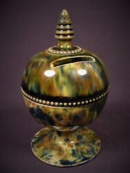 Very Rare Antique 1800s Scottish Tri-color Spatter Globe Bank Yellow Ware Mint
