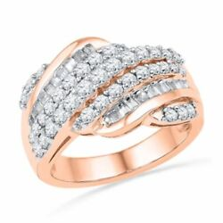 1 Ct Baguette And Round Real Diamond Rolling Wave Band In 10k Rose Gold
