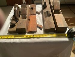 Lot Of 6 Vintage Primitive Wood Planes Stanley Rule 26 Ny Tool Co Howland And Co
