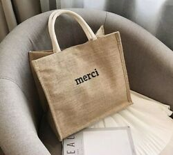 """Hot Trend Summer Straw Beach Bag With Lovely Message """"merci"""" print Burlap Tote $30.00"""