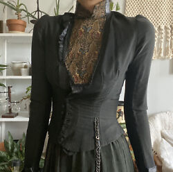 Antique 1900andrsquos Victorian / Edwardian Form Fitting Tailored Jacket Xs