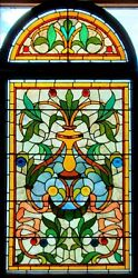 Great Antique Two Part Stained Glass Arch Landing Window