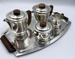 French Art Deco Silverplated Coffee/tea Set On Tray By Ravinet D'enfert 1938