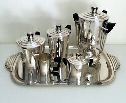 Rare French Art Deco Coffee/tea Service With Samovar By Ercuis Andndash Sirius Pattern