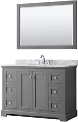 Wyndham Collection Avery 48 Inch Single Bathroom Vanity In Dark Gray White Carr