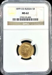 1899 O3 Russia 5 Roubles Gold Coin Ngc Ms 62 00385