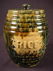 Rare 1860 Rice Canister With Lid And Tri-color Spatter Glaze Yellow Ware Mint