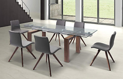 Whiteline Contemporary Modern Davy Extendable Dining Table With 1/2 Tempered Gla