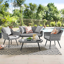 Modway Eei-3177-gry-gry-set Endeavor Outdoor Patio Wicker Rattan Sectional Sofa