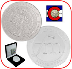 First Majestic 10oz Mayan Design Proof Silver Medallion/round, Coa And Packaging