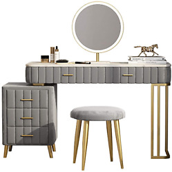 Vanity Table Vanity Set With Cushioned Stool Drawers Makeup Dressing Table Wi