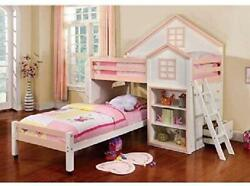247shopathome Youth Bed, Twin, White And Pink