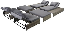 Festnight 5 Piece Outdoor Patio Chaise Lounge Set Pool Sun Lounger Poly Rattan G