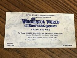 The Wonderful World Of The Brothers Grimm Special Showing - Rare - 1962 - Omaha