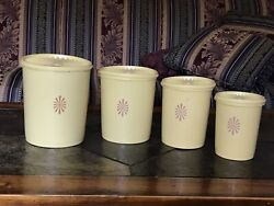 Vintage - Tupperware - Nesting Canister Set With Lids Daffodil Yellow 8 Pc Set