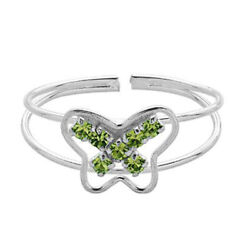 925 Sterling Silver Flutter Toe Rings Decorated With Peridot Stones