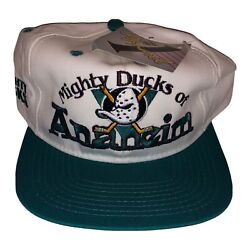 Nwt Vintage 1990's Mighty Ducks Of Anaheim Apparel 1 Brand Nhl Snap Back Hat Cap
