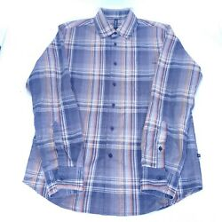 Rvca Mens Long Sleeve Button Up Shirt Size Small S Brown Black Plaid