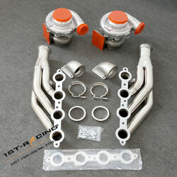 For Ls1 Ls6 Lsx Gm T4 Ar.80/.81 Pair Oil Turbos+exhaust Manifold+2xcast Elbows