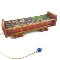 Vintage Halsam Pull Toy Cart Wagon With Alphabet And Picture Blocks 13 Long