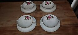 Northumbria China Carleton Rose Cream Soup Bowls And Underplate Set Of 4