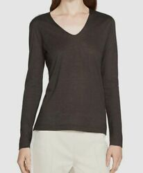 1195 Akris Womenand039s Gray V-neck Long-sleeve Cashmere Silk T-shirt Top Us Size 8