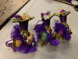 Katherineandrsquos Collection Jester Kissing Fish Mardi Gras Ornament Set Of 3