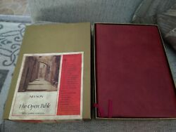 Kjv Open Bible Genuine Leather Indexed In Box Vintage Like New