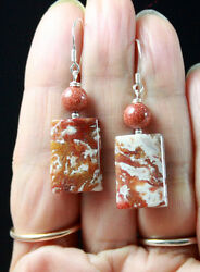 Rare Beauty White Red Agua Nueva Agate And Brown Golstone Sterling Silver Earrings