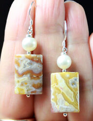 Rare Mustard Yellow Agua Nueva Agate And White Pearls Sterling Silver Earrings